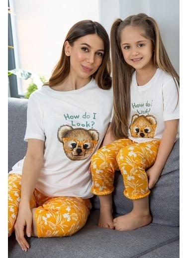 Katia & Bony Teddy Bear Basklı Kadın Pijama Takımı - Ekru Ekru
